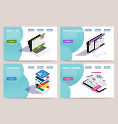 language learning online concept vector image