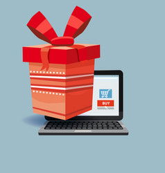 laptop noteebok with red gift box online vector image