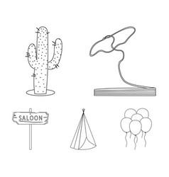 Lasso cactus wigwam saloon index wild west set vector