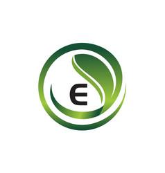 Leaf initial e logo design template vector