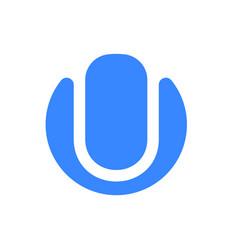 letter u logo modern blue font icon vector image