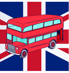 london bus with uk flag vector image