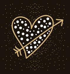 love heart arrow romantic passion emotion dots vector image