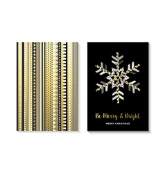 Luxury gold Christmas card design of snowflake vector
