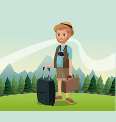 Man bearded with camera suitcase baggage hat vector