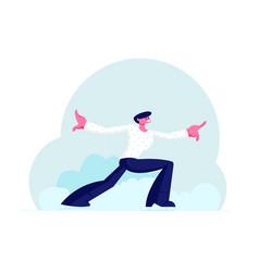 Man performer in white shirt making acrobatic vector