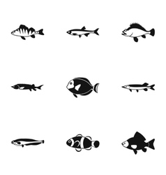 Marine fish icons set simple style vector