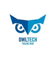 modern owl and technology logo vector image