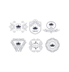 Monogram logo templates set elegant stylish vector