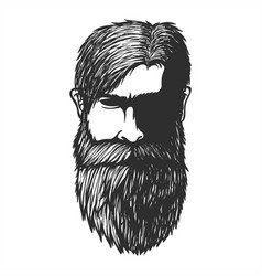 mustache and beard man head hand drawn vector image