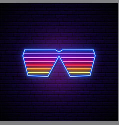 Neon shutter glasses sign glowing sunglasses vector