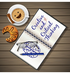 notebook and coffee cup with croissant vector image