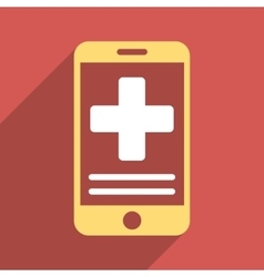 Online Medical Data Flat Square Icon with Long vector image