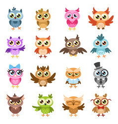 owls color cute wise owl stickers birthday vector image