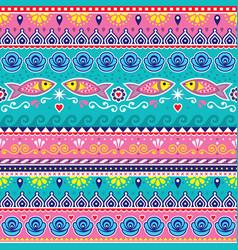Pakistani or indian truck art seamless pattern vector