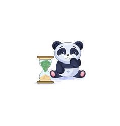 Panda sticker emoticon sits at hourglass vector