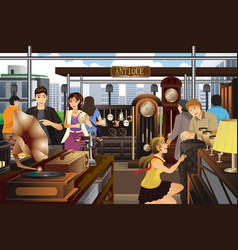 People shopping in the market of antique stuff vector