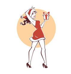 pinup marry christmas and happy new year girl vector image