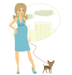 Preggy with little dog vector image