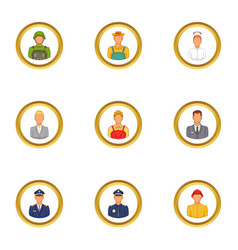 Professions icons set cartoon style vector