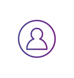Purple linear outline person icon user icon in vector