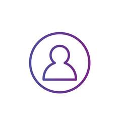 purple linear outline person icon user icon in vector image