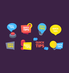Quick set tips useful hints and tips color vector