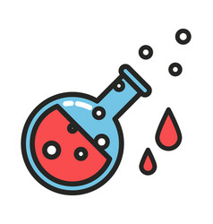 red potion with drops and bubbles line style vector image