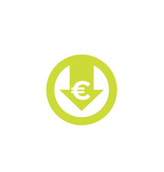 Reduce costs icon with euro vector
