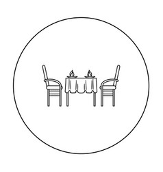 Restaurant table icon in outline style isolated on vector