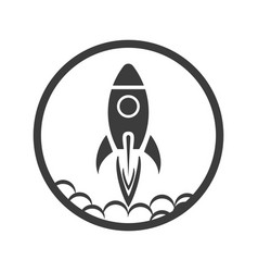 rocket icon emblem on a white background vector image