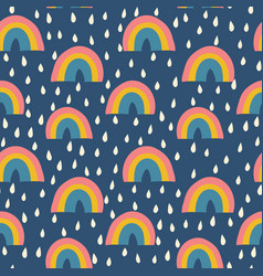 scandinavian rainbows and raindrops seamless vector image