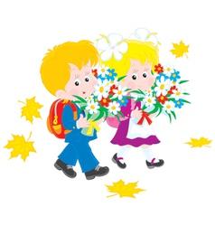 Schoolboy and schoolgirl first-graders vector