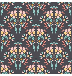 Seamless retro pattern of different colored flower vector image