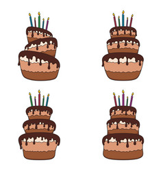 Set of color with a chocolate cake vector