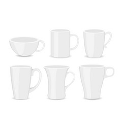 set of white cups different vector image