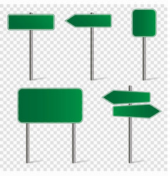 set road signs isolated on white background vector image