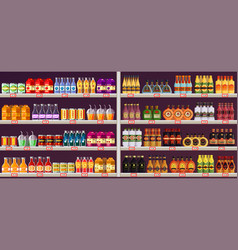 showcase or stall with drinks and alcohol at shop vector image
