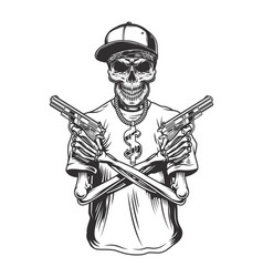 Skeleton gangster with guns vector