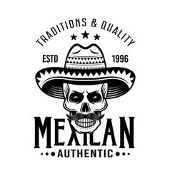 Skull mexican bandit in sombrero emblem vector