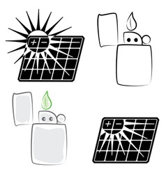 solar panel and lighter vector image