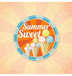 Summer sweet ice cream retro background vector