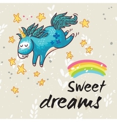 Sweet dreams card with cute unicorn vector