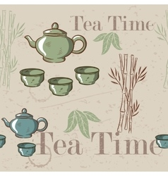 Tea time vintage seamless background Retro kettle vector