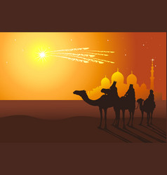 Three kings ride camels from oriental countries vector