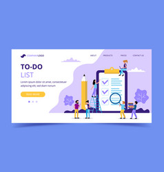 to do list landing page big page with check marks vector image