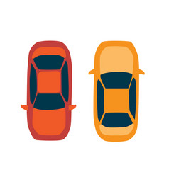 Top view a set city urban cars for design vector