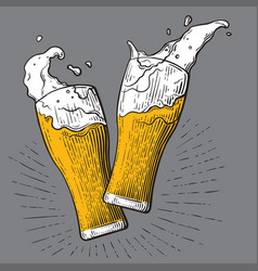 two glasses of beer toasting creating splash vector image