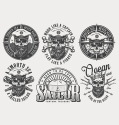 vintage monochrome nautical labels set vector image