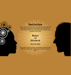 wedding invitation with woman and man face vector image